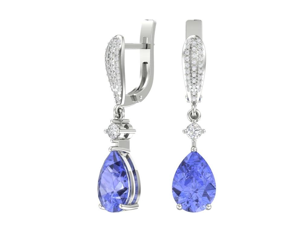 Золотые серьги с синим танзанитом и бриллиантами , арт. 9200284-00002 — Покровский ювелирный завод
