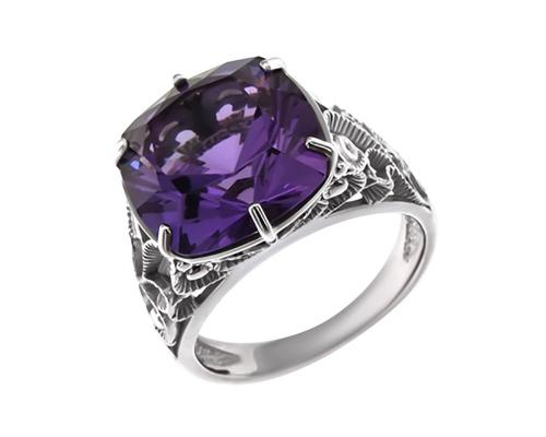 Серебряное кольцо с гидротермальным аметистом и фианитами