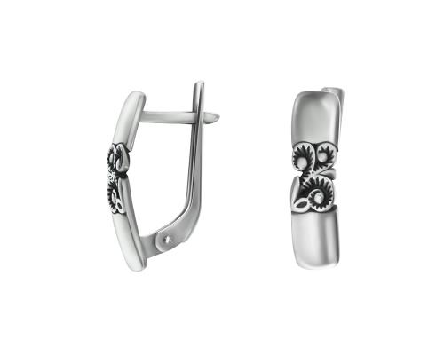 Серебряные серьги и чернением 2100694-00245 pokrovsky фото