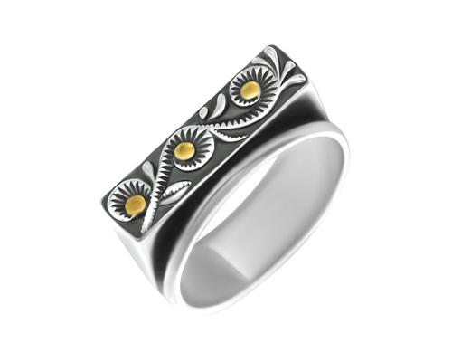 Серебряное кольцо и чернением