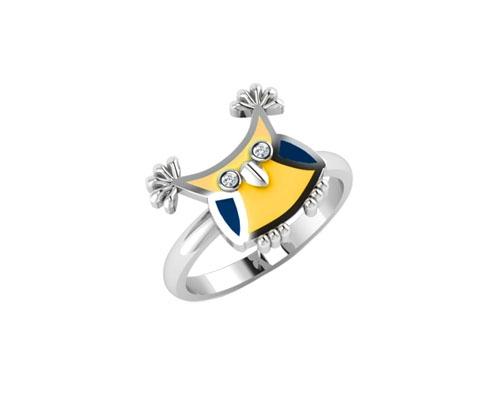 Детское серебряное кольцо с фианитами и эмалью