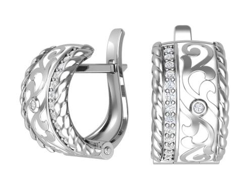 Серебряные серьги с фианитами и эмалью