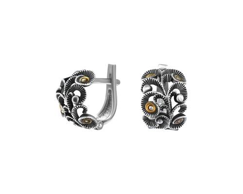 Серебряные серьги , фианитами и чернением