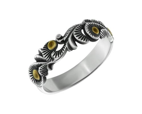 Серебряное кольцо Узоры с чернением