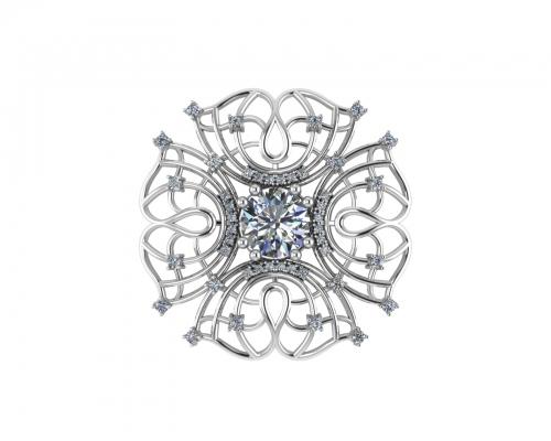Серебряная брошь «Княгиня» с бесцветными фианитами