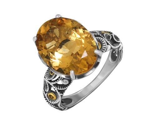 Серебряное кольцо , фианитами, цитрином и чернением