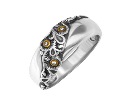 Серебряное кольцо с фианитами и чернением