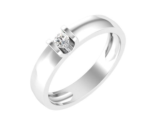 Золотое кольцо с бесцветным фианитом, ширина 3.5 мм