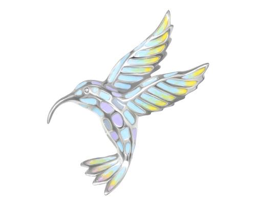 Серебряная брошь-подвеска «Колибри Ямайка» с эмалью