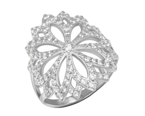 Серебряное кольцо «Зимний цветок» с фианитами