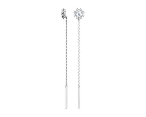 Серебряные серьги-продевки «Солнышки» с фианитами