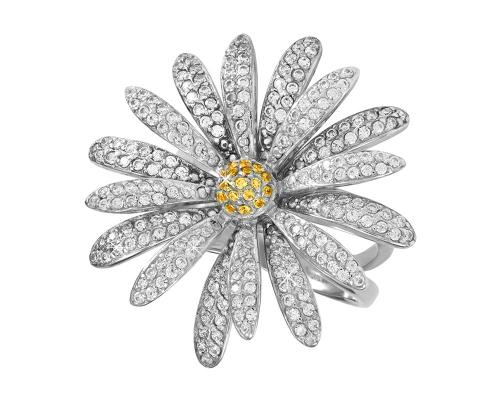 Серебряное кольцо с желтыми и бесцветными фианитами