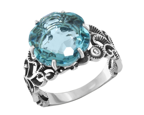 Серебряное кольцо с гидротермальным топазом и фианитами