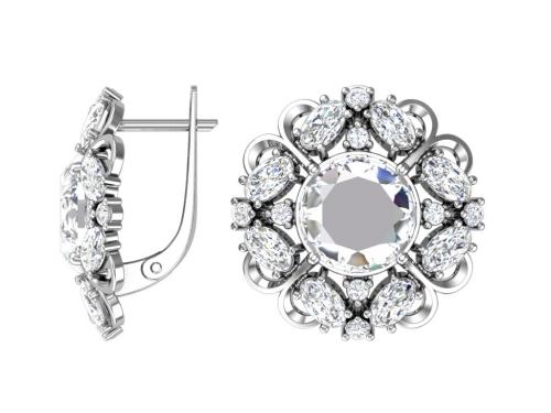 Серебряные серьги «Виконтесса» с бесцветными фианитами