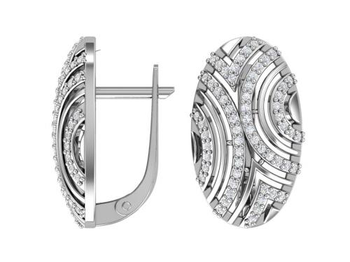 Серебряные серьги «Восток» с бесцветными фианитами