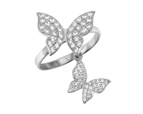 """Серебряное кольцо """"Бабочки"""" с бесцветными фианитами"""