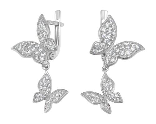Серебряные серьги Бабочки с бесцветными фианитами