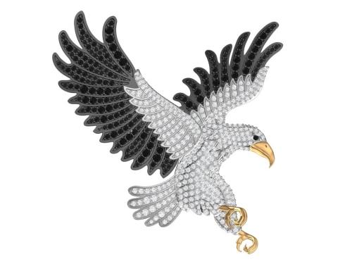 Серебряная брошь UNISEX «Орлан» с золочением, черными и бесцветными фианитами.