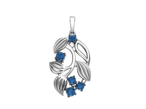 Серебряная подвеска «Голубика» с синими фианитами