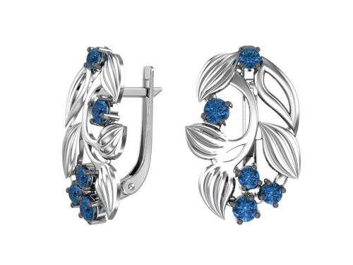 Серебряные серьги «Голубика» с синими фианитами