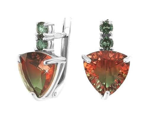 Серьги с оранжево-зелеными вставками «Сладкие» 2100853-10355 pokrovsky фото