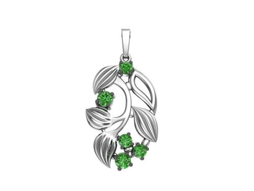 Серебряная подвеска «Крыжовник» с зелеными фианитами