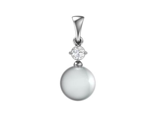 Серебряная подвеска «Жемчужина» с жемчугом и фианитом