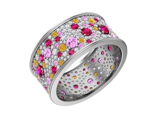 Серебряное кольцо «Фиеста» с фианитами