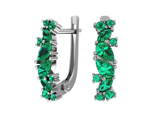 Сережки с зеленым камнем 2100783-00445 pokrovsky фото
