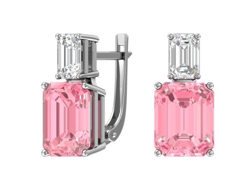 Серебряные серьги с розовым кварцем и бесцветным фианитом