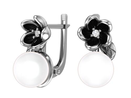 Серебряные серьги имитация жемчуга с фианитом