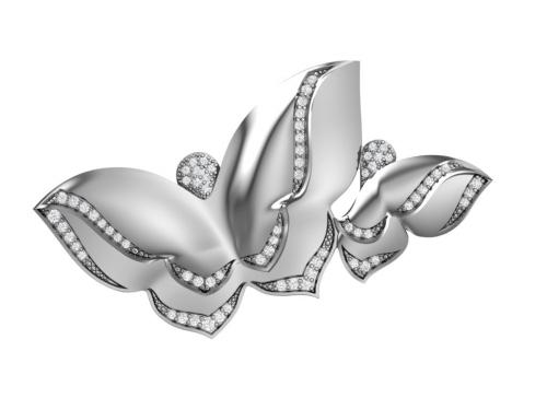 Серебряная брошь «Бабочки» с бесцветными фианитами