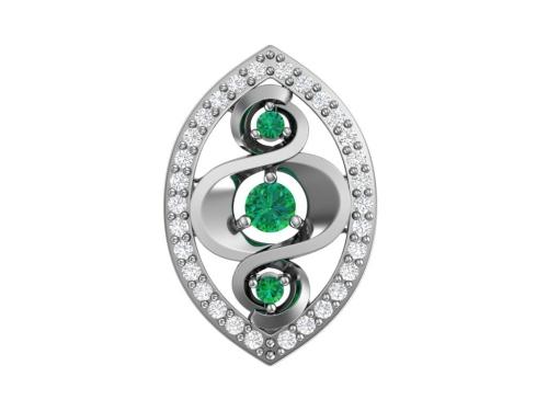 Серебряная подвеска с зелеными фианитами