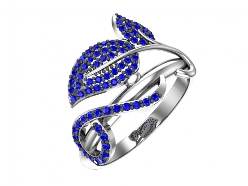 Серебряное кольцо с синими фианитами