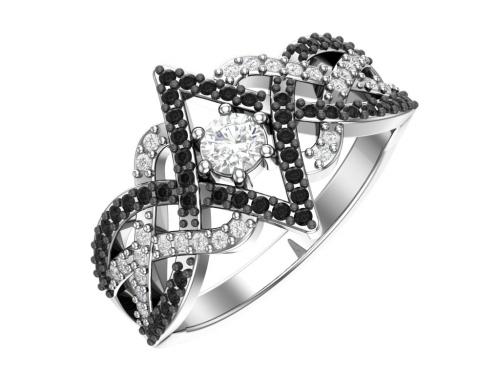 Серебряное кольцо с чёрными и бесцветными фианитами