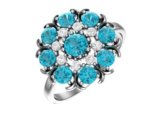 Серебряное кольцо с аква и бесцветными фианитами