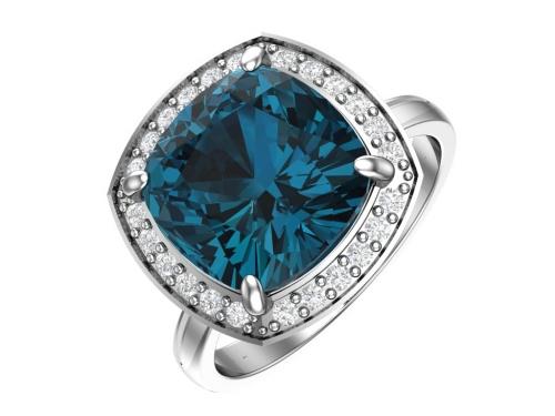 Серебряное кольцо с кварцем синтетическим синим и бесцветными фианитами