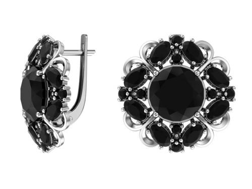 Серебряные серьги с кварцем синтетическим черным и фианитами