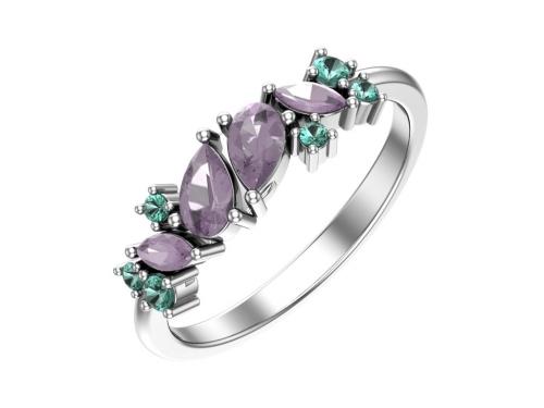 Серебряное кольцо с аметистовыми и зелеными фианитами