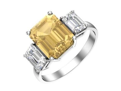 Серебряное кольцо с кварцем синтетическим цитриновыи и бесцветными фианитами