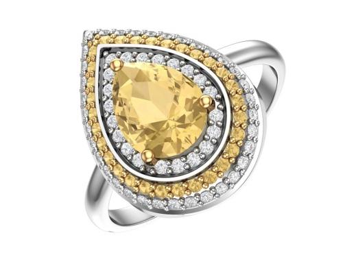 Серебряное кольцо с кварцем синтетическим цитриновым и фианитами