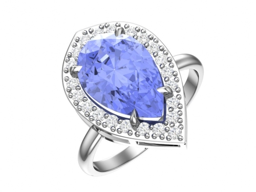Серебряное кольцо с кварцем синтетическим голубым и бесцветными фианитами