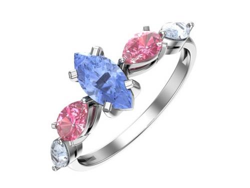 Серебряное кольцо с кварцем синтетическим розовым, светло голубым и голубым