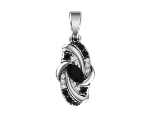 Серебряная подвеска с кварцем синтетическим черным и фианитами