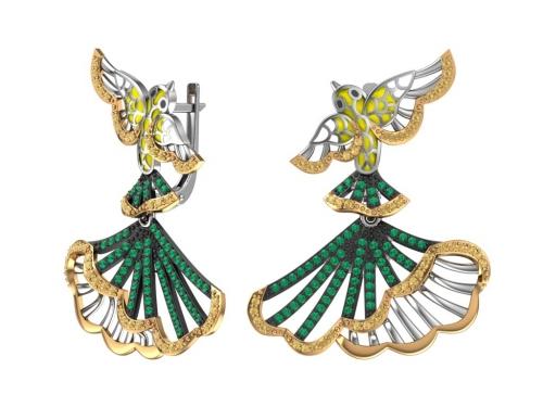 Серебряные серьги с эмалью и зелеными,желтыми фианитами