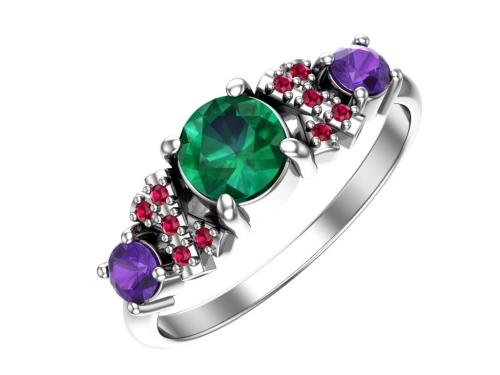 Серебряное кольцо с кварцем синтетическим изумрудным, аметистовым и рубиновыми фианитами