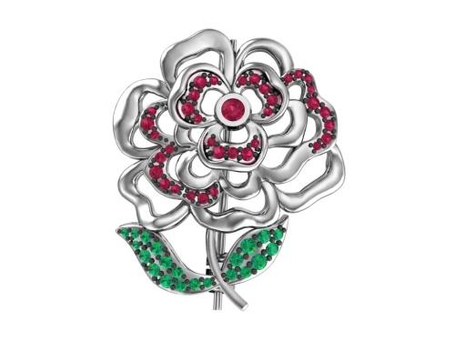 Серебряная брошь «Чайная роза» с темно-рубиновыми и зелеными фианитами