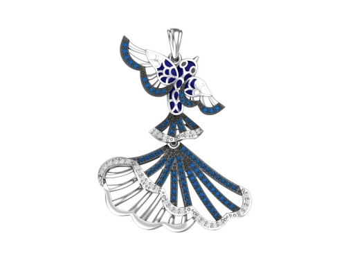 Серебряная подвеска с эмалью и синими, бесцветными фианитами