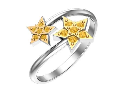 Серебряное кольцо с жёлтыми фианитами и золочением