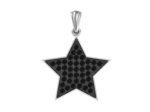 """Серебряная подвеска """"Звезда"""" с чёрными фианитами"""
